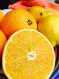 Halved orange in closeup Royalty Free Stock Photo