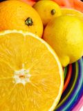 Halved orange in closeup Royalty Free Stock Photos