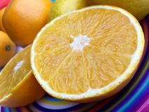 Halved orange in closeup Stock Image