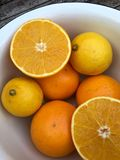 Halved orange in closeup Royalty Free Stock Photography
