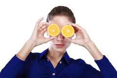 Halved orange Stock Images
