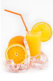 Halved oranges and orange juice Stock Image