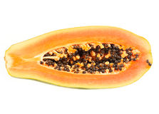 Halved papaya Stock Photo