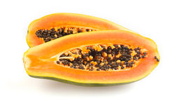 Halved papaya Stock Images