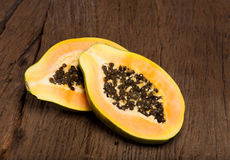 Halved papaya fruit Royalty Free Stock Photo