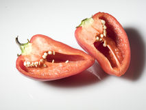 Halved paprika pepper Royalty Free Stock Image