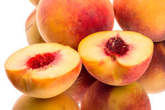 Halved peach closeup Royalty Free Stock Photography