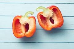 Halved red bell pepper Stock Image