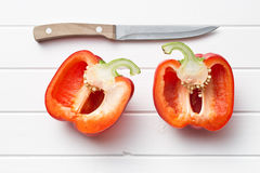 Halved red bell pepper Royalty Free Stock Photography