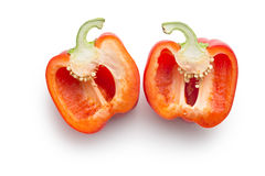 Halved red bell pepper Stock Photo