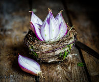 Halved red onions in a basket Royalty Free Stock Image