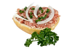 Halved roll with minced pork Royalty Free Stock Photos