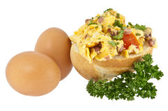 Halved roll with scrambled eggs Royalty Free Stock Images