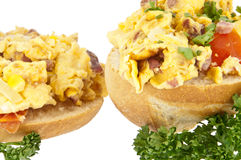 Halved roll with scrambled eggs (clipping path) Stock Image