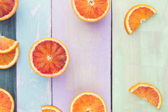 Halved and sliced oranges and blood oranges Royalty Free Stock Photo