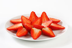 Halved strawberries Royalty Free Stock Images