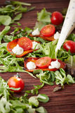 Halved tomatoes and homemade mayo on grilled pieces of sweet pep Stock Images