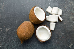 Halved and whole coconut Stock Photo