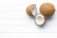 Halved and whole coconut Royalty Free Stock Photo