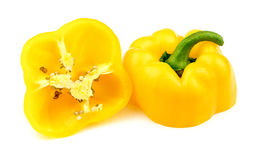 Halved yellow bell pepper Stock Images