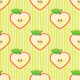 Halves apple seamless vector pattern or background Royalty Free Stock Images