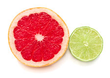 Halves of grapefruit and lime Royalty Free Stock Photos