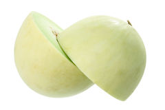 Halves of Honeydew Melon. On White Background Stock Photo