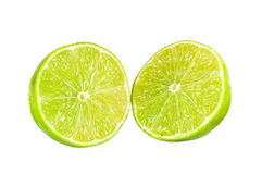 Halves of lime fruit Royalty Free Stock Photo