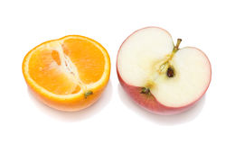 Halves Of Orange And Apple Stock Images