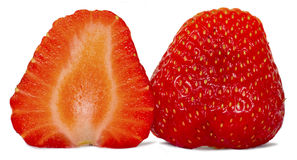 Halves strawberries2. Red strawberry cut into two slices, isolated on white background Royalty Free Stock Image