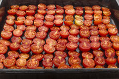 Halves of tomatoes. Cut tomatoes in half laid on a baking sheet royalty free stock image