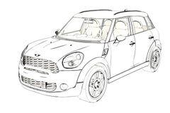 Halvkombi Mini Cooper Sketch för 5 dörr illustration 3d Arkivfoto