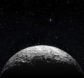 Halvmåneyttersida och stjärnklart utrymme arkivfoto