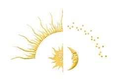 Halvmånformig och sun med stjärnor som isoleras på white Royaltyfria Bilder