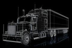 Halvt åka lastbil illustrationen Arkivbilder