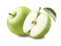 Halvt blad för grönt äpple som isoleras på vit bakgrund arkivbilder