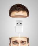 Halvt huvud och usb Fotografering för Bildbyråer