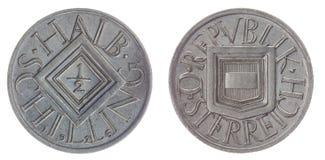 Halvt mynt för schilling som 1926 isoleras på vit bakgrund, Österrike Arkivfoto