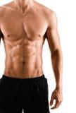 Halvt naket sexigt förkroppsligar av muskulös sportsman Arkivbild