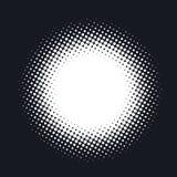 Halvton prucken vektorabstrakt begreppbakgrund, prickmodell i cirkelform stock illustrationer