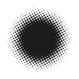 Halvton prucken vektorabstrakt begreppbakgrund, prickmodell i cirkelform Svart komiskt baner isolerad vit bakgrund stock illustrationer