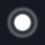 Halvton prucken vektorabstrakt begreppbakgrund, prickmodell i cirkelform Vit komisk bakgrund Moderiktig design vektor illustrationer