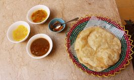 Halwa puri: breakfast of Pakistani champions royalty free stock photo