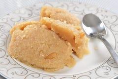 Halwa semolina. Halwa is famouse mome made Turkish sweet made with suji (semolina Royalty Free Stock Photos