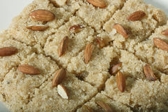 Halwaua e Aurd Sujee - a Semolina Pudding. Close up view of halwa. Halwaua e Aurd Sujee is a sweet dish made from Semolina, popular in North-West India Royalty Free Stock Images