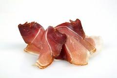 Ham. Smoked ham on white underground Stock Image