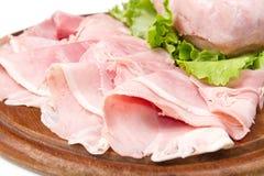 Ham. Sliced ham on white background Stock Images