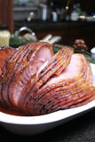 Ham. Honey baked holiday ham sliced Stock Image