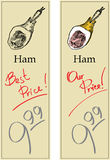 Ham. Two Price Tags with Vintage Effect Royalty Free Stock Photos