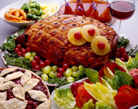 Ham. With table setting and salad royalty free stock images